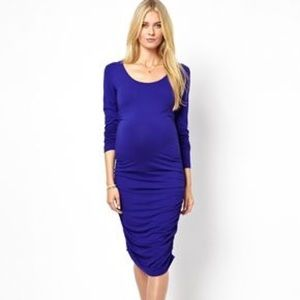 Isabella Oliver Ruched Cobalt Blue Maternity Dress